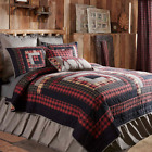 CUMBERLAND QUILT SET-choose size & accessories-Log Cabin Block Red VHC Brands image
