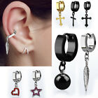 2PC Steel Ear Cuff Huggie Earring Surface Hinged Hoop Stud Helix Stud Logo Ear
