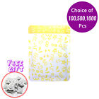3x4.75in Yellow Aluminum Mylar Open Top Bag for Facial Mask /w Desiccant Y01