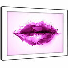 AB341 Pink Purple Lips Cool Modern Abstract Framed Wall Art Large Picture Prints