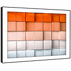 AB325 Orange White Squares Modern Abstract Framed Wall Art Large Picture Prints