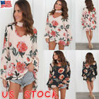 Plus Size Womens Choker V Neck Floral T-Shirt Ladies Casual