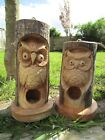 Fair Trade Hand Made Wooden Owl Wild Bird House Nesting Nest Box Garden Log