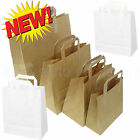 Paper Carrier Bags White Brown SOS Kraft Takeaway Party Lunch Food Flat Handles