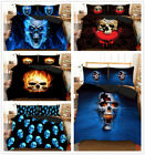 Skull Fire Duvet Doona Quilt Cover Set Queen King Single Size Bed Covers Linen