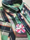 Check Shirt Green Blue Orange Button Down Cotton Short Sleeve Mod Skin S - 3XL