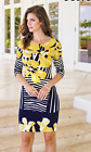 Frank Lyman Floral Stripe Dress With Sleeves 181305 Navy Yellow