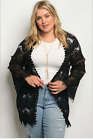 Внешний вид - LOVERICHE Plus Size Black Lace Wide Sleeve Open Cardigan Retails $56