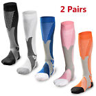 2 Pairs 30-40 mmhg Over Knee High Compression Socks Running