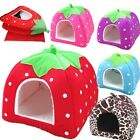Pet Bed House Dog Cat Warm Cushion Basket Pad Doggy Puppy Soft Strawberry Kennel