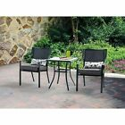 Patio Furniture Dining Set Glass Table Cushioned Chairs Gray Outdoor Deck Pool