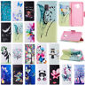 For Samsung Galaxy S10 Plus A7 A6 J4 J6 Painted Wallet Leather Flip Stand Cover