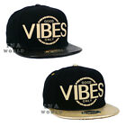 GOOD VIBES ONLY hat Rubber Patched Snapback Faux Leather Flat bill Baseball cap