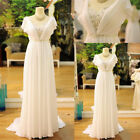 White Long  Beach Chiffon Wedding Dresses Capped Sleeves Crystal Bridal Gown