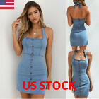 Sexy Ladies Womens Bodycon Denim Button Sleeveless Backless Mini Dress Summer US