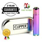 GENUINE RAINBOW OIL PURPLE METAL METALIC CLIPPER LIGHTER WITH CHROME CASE