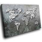 AB1322 Grey World Map Cool Modern Abstract Canvas Wall Art Large Picture Prints