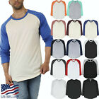 Mens Baseball Raglan 3/4 Sleeve T Shirt Jersey Casual Tee Team Sports Family image