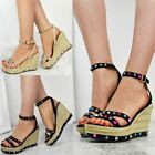 Womens Ladies Multi Colour Rock Sandals Studded High Heel Wedge Shoes Size UK