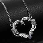 Outlander Themed Scottish Thistle Pendant Necklace Heart Chain Jewellery Gift Uk