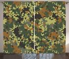 Camo Curtains 2 Panel Set Decor 5 Sizes Available Window Drapes Ambesonne