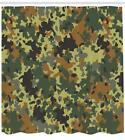 Camo Pattern Shower Curtain Fabric Decor Set with Hooks 4 Sizes Ambesonne