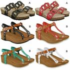 Womens Ladies Low Wedge Summer Sandals Comfy Holiday Flip Flops Shoes Size UK