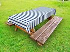 Harbour Stripe Outdoor Picnic Tablecloth in 3 Sizes Washable Waterproof