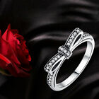 S925 Sterling Silver Bowknot Ring Fashion European With Crystal Stone Jewelry