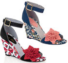 NEW Ruby Shoo Sky Wedge Sandals Red White Tulip / Blue Floral UK3-8 EU36-41