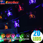 Solar Butterfly Shape 20 LED Fairy String Light Outdoor Party Lamp Decoration