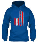 Mens American Flag Patriotic Daddy T On Gildan Hoodie Sweatshirt