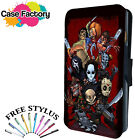 HORROR MOVIE FILM CUTE CARTOON COLLAGE- Leather Flip Wallet Phone Case Cover