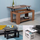 Modern Lift Up Top Coffee Table With Storage -  Teak Black White