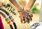 Pride Lgbt Rainbow Unisex Leather Bracelet Gay Pride Jewellery Lesbian Bisexual