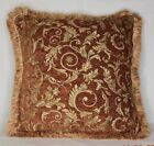 rust brown copper burnt orange gold floral chenille fringe pillow made usa