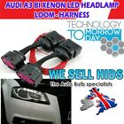 * Audi A3 Front headlamp loom Harness Adapter Halogen to Bi xenon LED retrofit