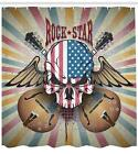 Rock Guitar Pattern Shower Curtain Fabric Decor Set with Hooks 4 Sizes