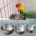 Parrot Cage Food Water Feeding Bird Cups With Clamp Stainless Steel Stand Holder