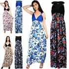 Women Ladies Sheering Sleeveless Spring Coil Contrast Floral Jersey Maxi Dress