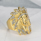 Elvis Presley TCB Concert Indian Head Crystal Iced Out Gold Plated 8-13 Men Ring