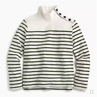 J CREW Striped Button-Shoulder Turtleneck Sweater Tops Navy Red Or Ivory size XS