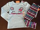 New Gymboree Girl Back to Blooms Mouse Tee & Striped Leggings Outfit 18-24 2T