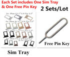 2 Sets Sim Card Tray Holder Slot + Free Pin Key for iPhone X 8 7 6S 6 Plus
