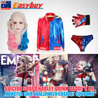 Womens Girls Suicide Squad Harley Quinn Cosplay Costume Jacket Tshirt Shorts Wig