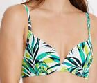 NEW LADIES M&S SIZE 36B 34C 32DD WHITE PALM PRINT MOULDED UNDERWIRED BIKINI TOP