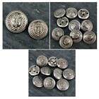 5 x Military Coat of Arms Crown/Feather Sewing buttons Antique Grey 22/25mm MB15
