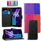 Leather Flip Wallet Case Stand Pouch Cover For Huawei Y6 2018 + Screen + Stylus