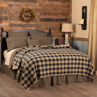 BLACK CHECK QUILTED coverlet -choose size & accessories-Primitive VHC Brands image