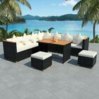 Outdoor Dining Sofa Set 14/22/27/29 Piece Poly Rattan Wpc Top Garden Furniture